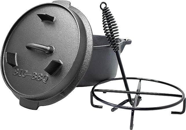 "Big-BBQ Dutch Oven Premium 14"" 12  QT Gusseisen Topf mit Deckelheber *B-WARE*"