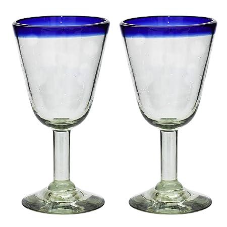 29299437821 Tumia Handmade Campana Wine Glasses - Blue Rim - Set of 2  Amazon.co.uk   Kitchen   Home
