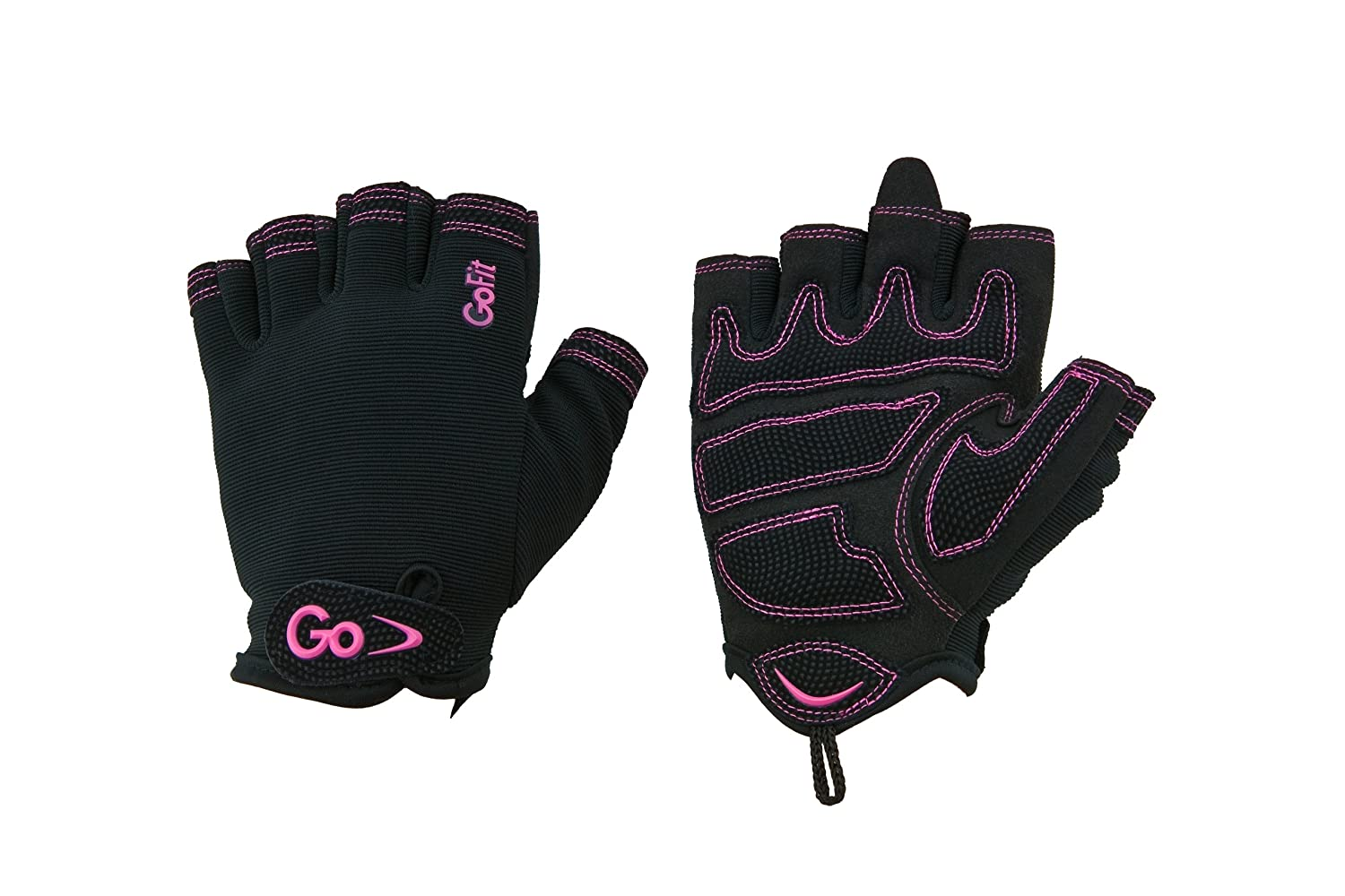 GoFit GF-WCT-LG Women's Cross Training Glove With Etched Synthetic Leather Palm (Black/Pink)