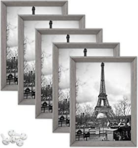 upsimples 5x7 Picture Frames with High Definition Glass,Rustic Photo Frames for Wall or Tabletop Display,Set of 5