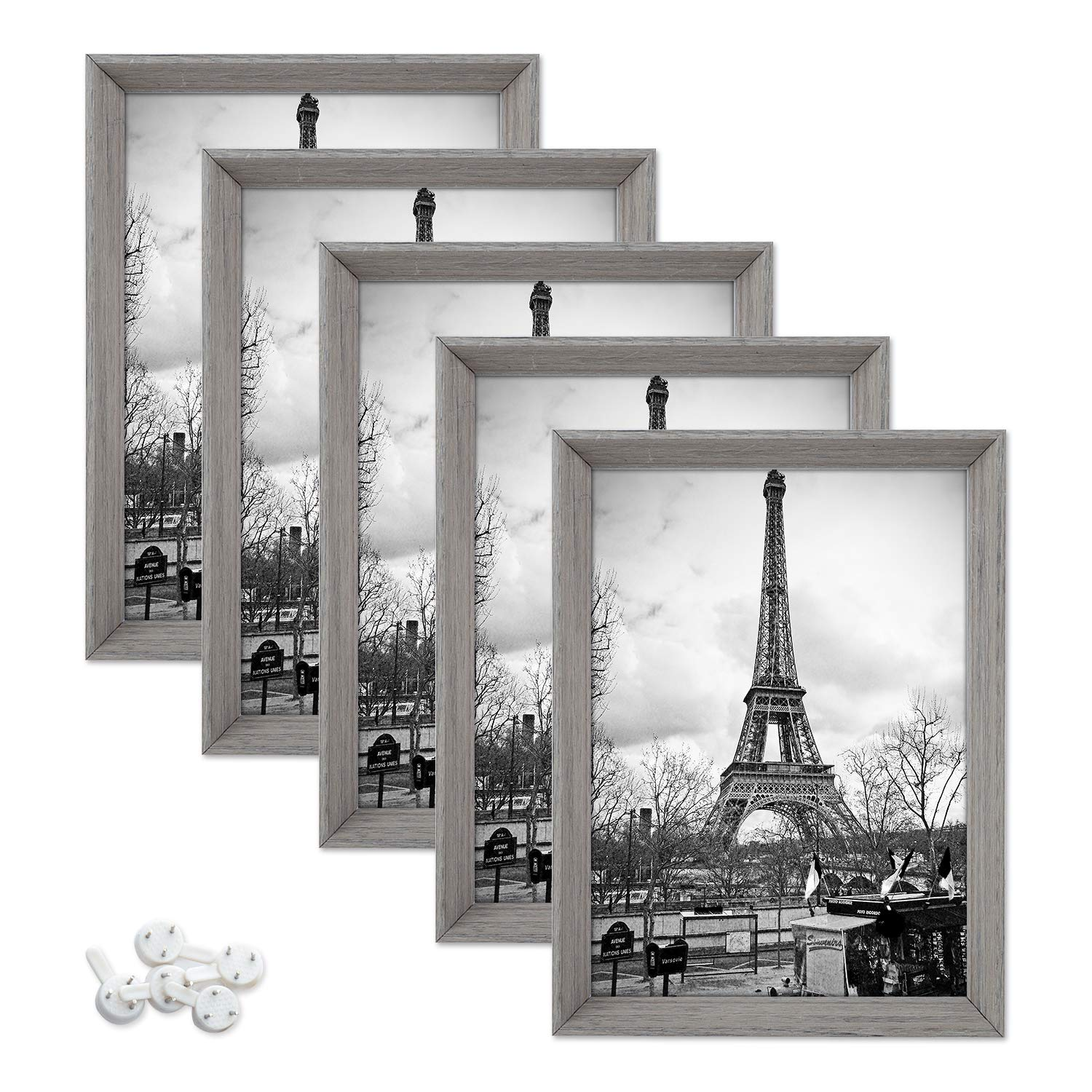 upsimples 5x7 Picture Frames with High Definition Glass,Rustic Photo Frames for Wall or Tabletop Display,Set of 5 by upsimples