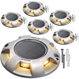 Warm White Solar Driveway Lights JACKYLED 600mAh Outdoor LED Dock Lighting with Switch Waterproof Wireless Warning Step Lights for Boat Deck Stair Garden Walkway Road Markers 6-Pack
