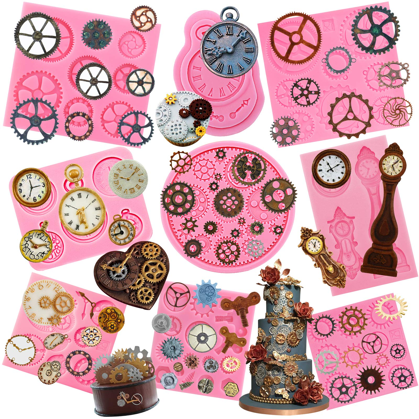 Funshowcase Steampunk Style Gear Cog, Watch Wheel and Clock Silicone Molds Set 9-Pack