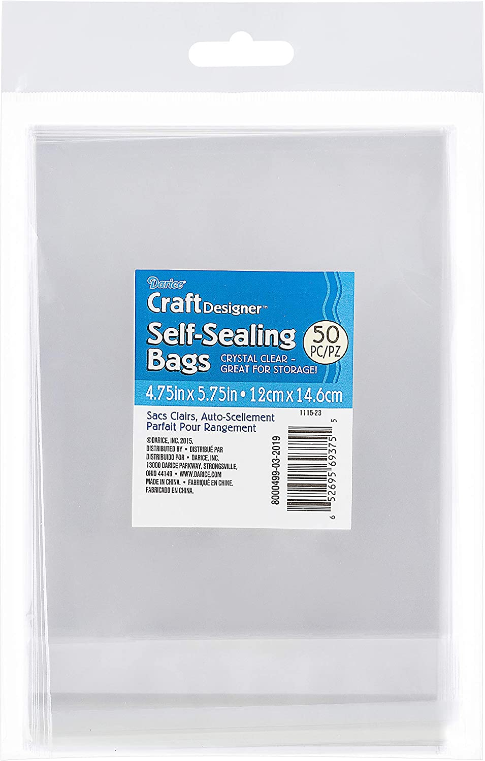 Darice 1115-23 50//Pack Plastic Self Sealing Bags 4-3//4 by 5-3//4-Inch Clear