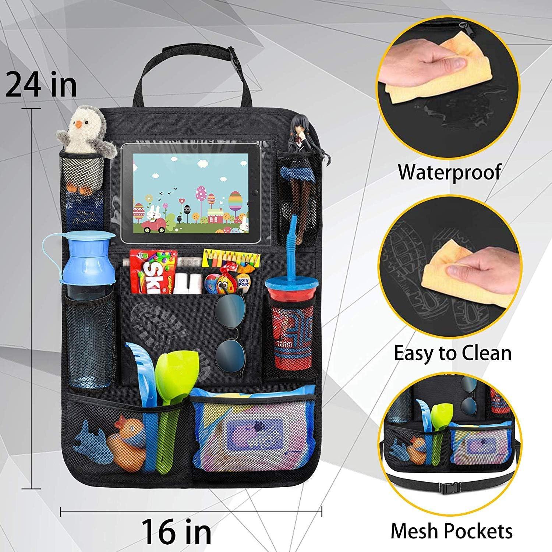 MingL 2 piezas Organizadores para Coche 6 bolsillos de malla y 3 bolsillos Kick Mats de Coche,Universal Multi-Bolsillo Organizanizador con 1 Soporte de iPad