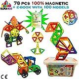 MANIA-MAG  - Bloques de construcción magnéticos - 78 piezas magnéticas de gran tamaño y ebook 100 modelos con caja de almacenamiento de plástico duradero
