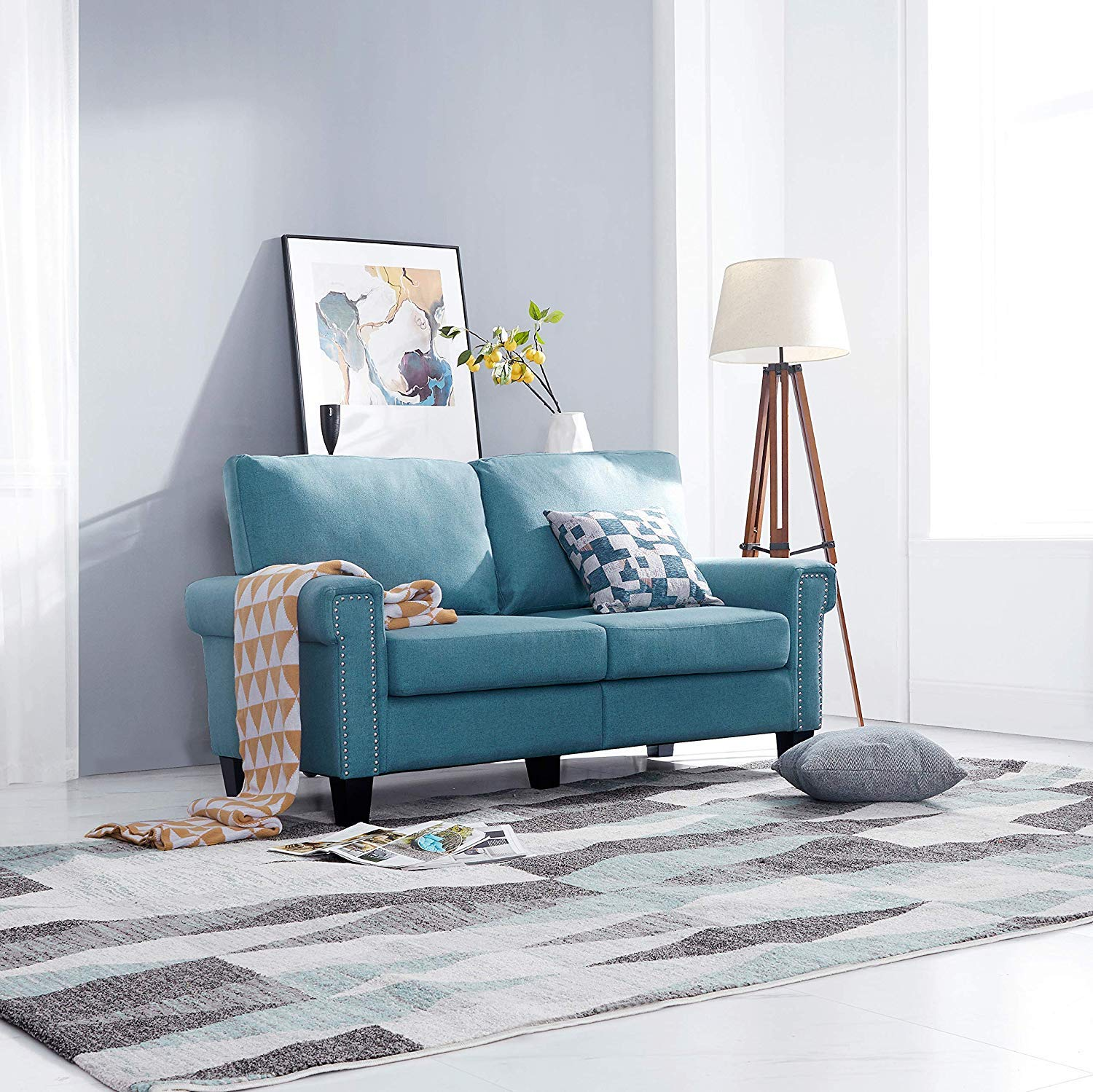 Blue Top Space Loveseat Couch Upholstered Modern 2 Seat Sofa Simple Style Arm Chair Linen Fabric Furniture Living Room Living Room Sets Kolenik Home Kitchen