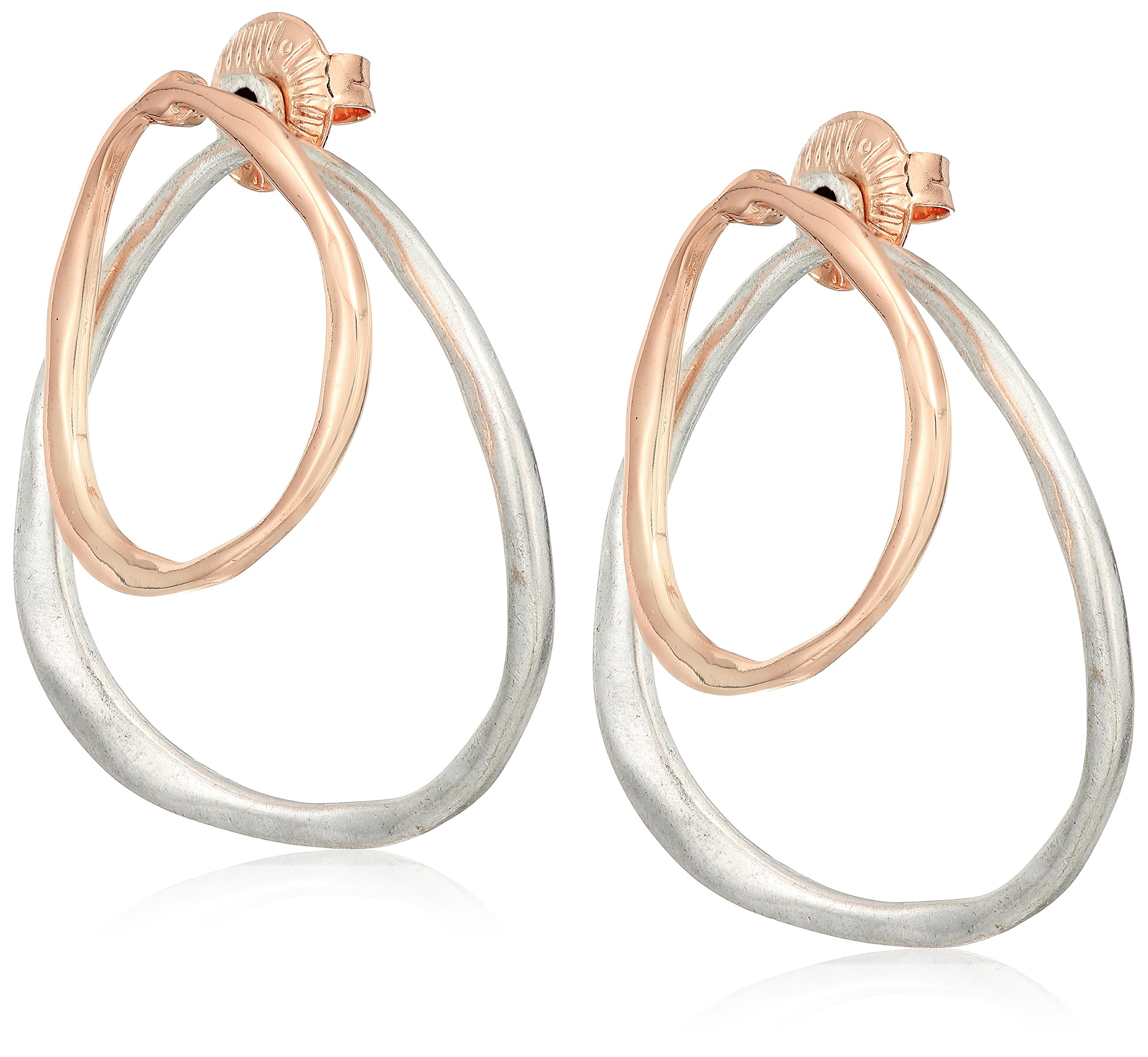 Robert Lee Morris Silver and Rose Gold Hoop Front Back Earring Jacket