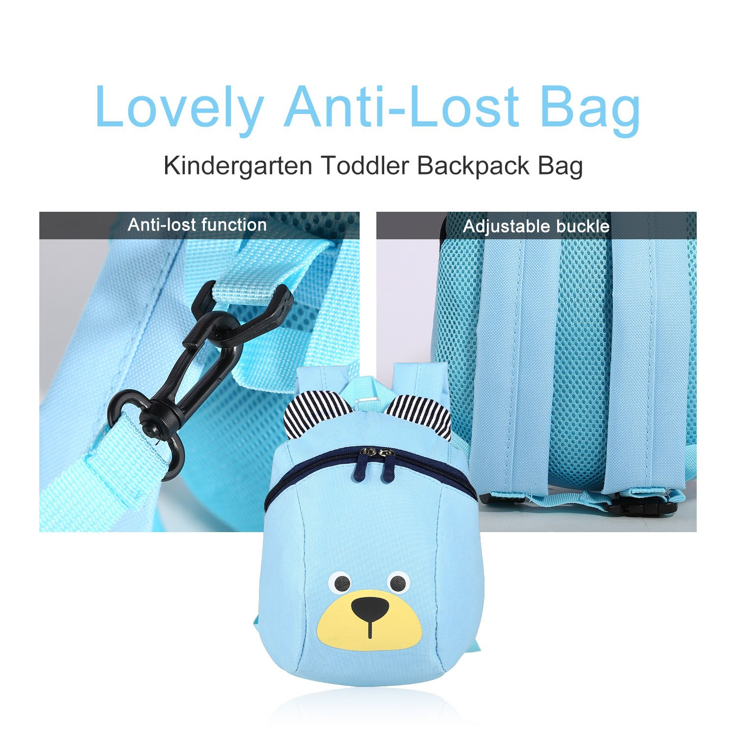 Cute Bear Small Toddler Kids Backpack and Lunch Box with Leash Set for Elementary School / Preschool Boys and Girls Which Under Age 6 Years, Mini and Light, Dirt-proof, Sky Blue