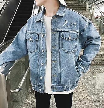 d5756bc65e05a AngelSpace Men's Washed Spring Summer Baggy Denim Jacket Coat Light ...