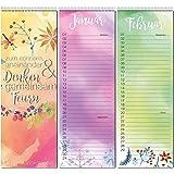 Geburtstags-Kalender I dv_191 I 105 x 297 mm I Wandkalender Planer immerwährend jahresunabhängig Blumen lang schmal ohne Wochentag Familie bunt