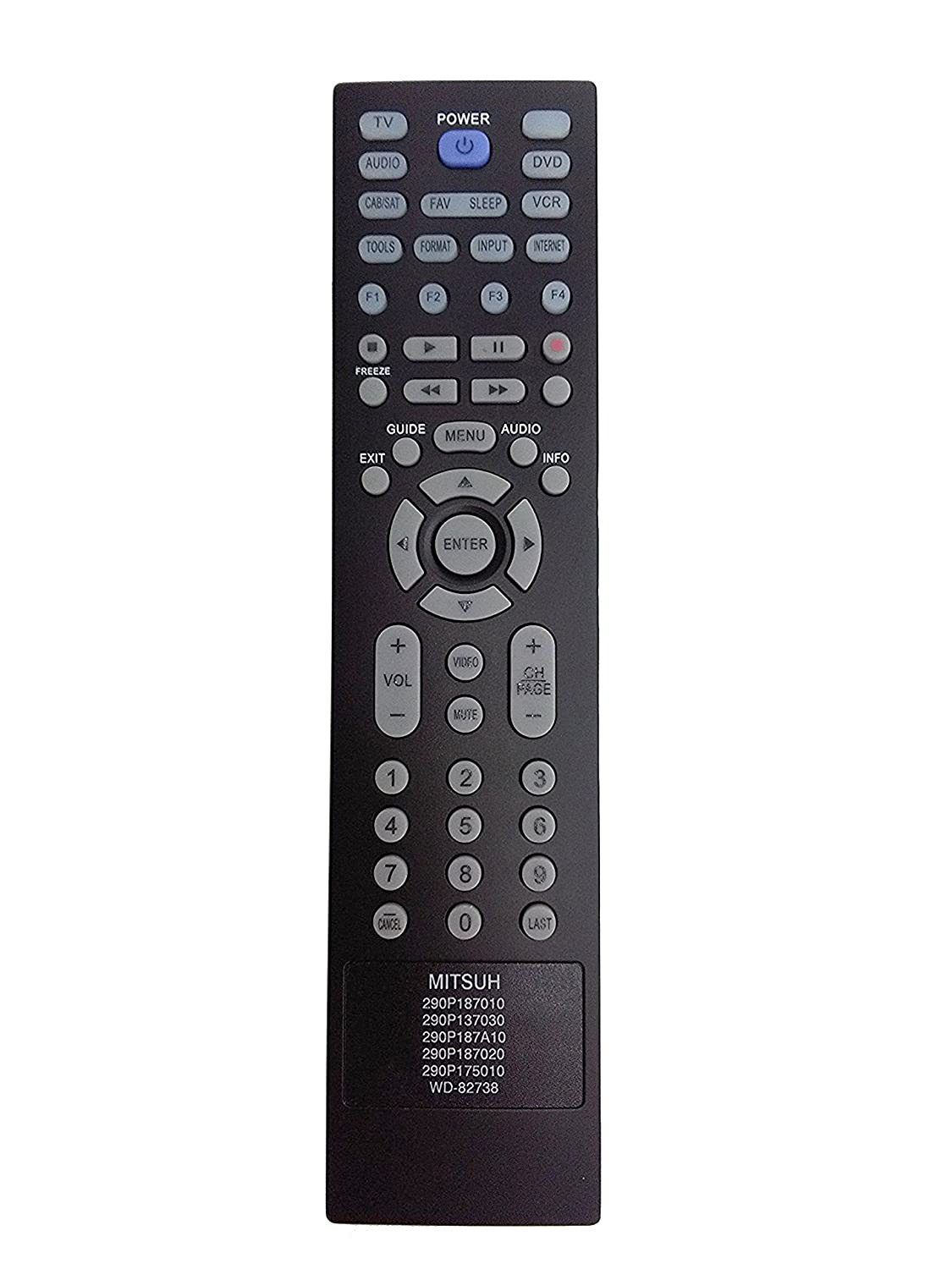 Amazon.com: New Replace Remote fit for MITSUBISHI 290P187010 290P137030  290P187A10 290P187020 290P175010 WD-82738 LT-40164 LT-46164 LT-46265 LT-55154  ...