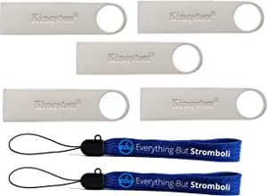 Kingston (TM) Digital 128GB 5 Pack Data Traveler DTSE9 G2 Flash Drive 3.0 USB High Speed with (2) Everything But Stromboli (TM) Lanyards