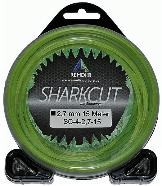 Sharkcut - Hilo profesional de aluminio para cortabordes, hilo de nailon, hilo de corte de 4 cantos, 2,7 mm, diferentes longitudes