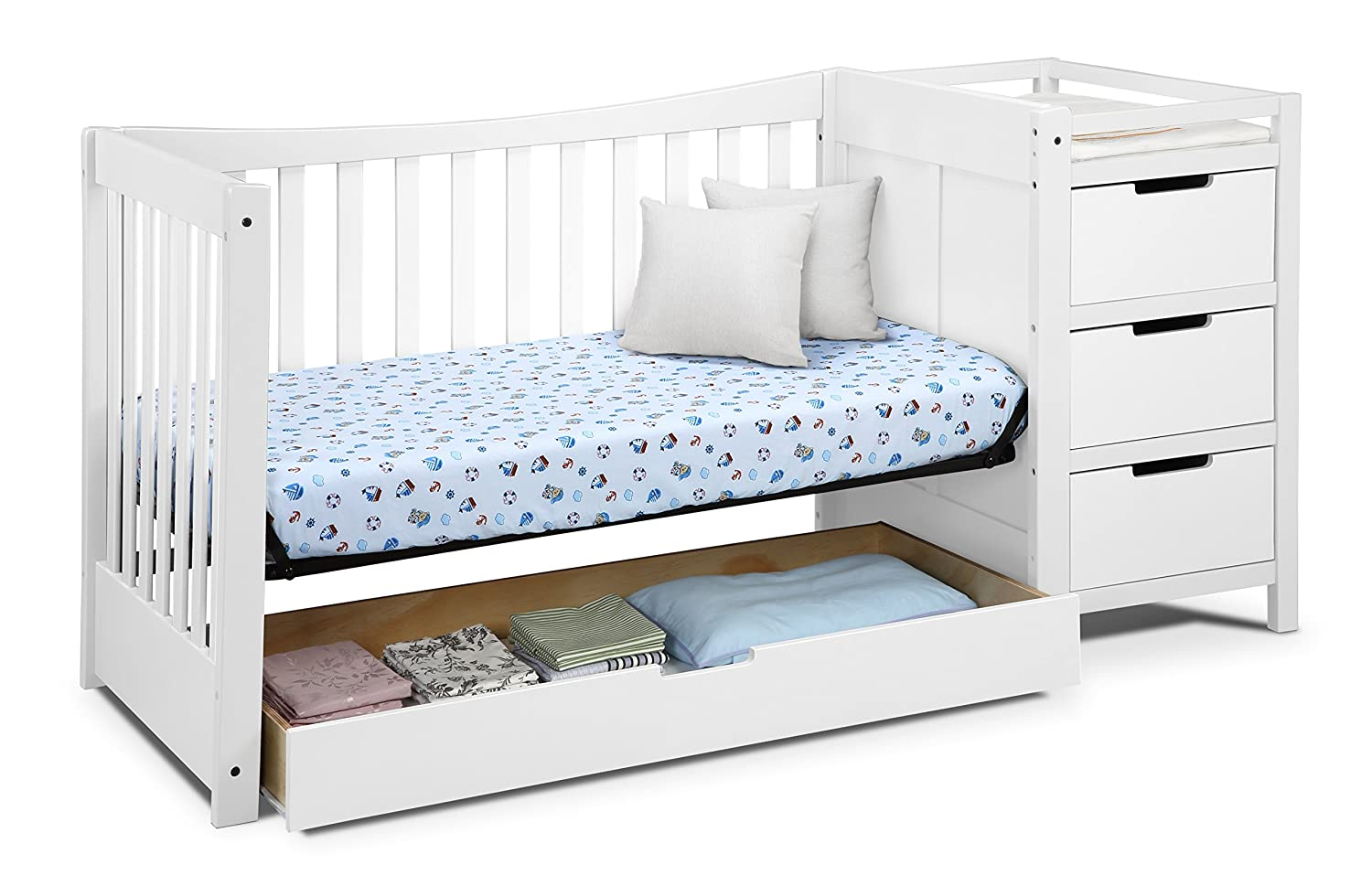 Amazon.com : Graco Remi 4-in-1 Convertible Crib and Changer, White ...