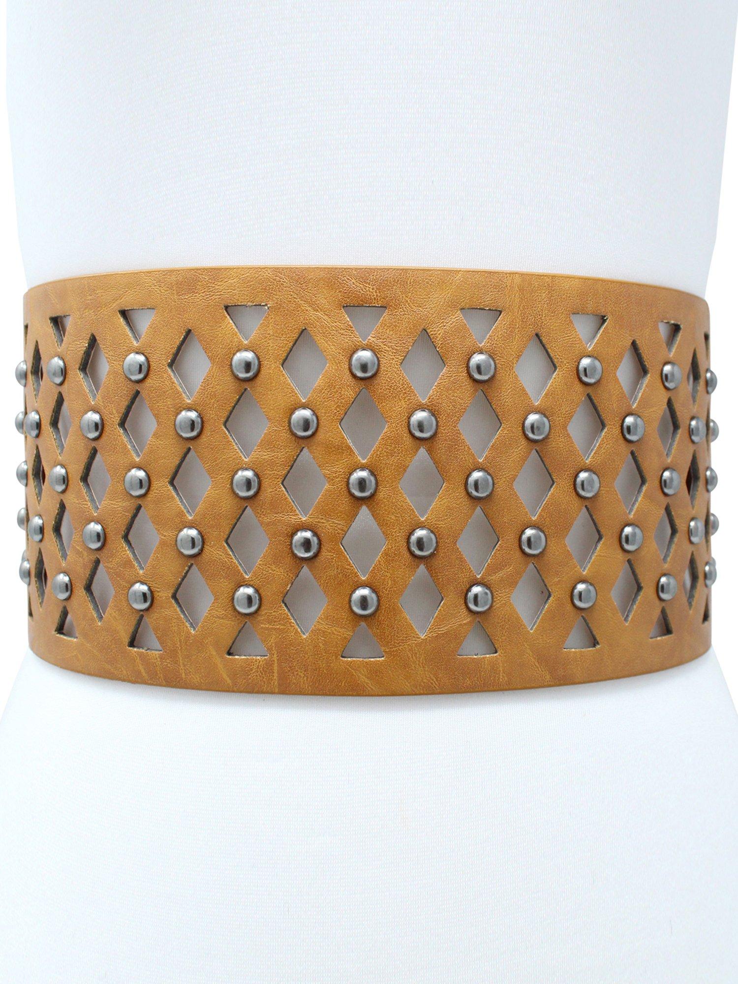 Camel Wide Studded Cut-Out Waist Belt by Luxury Divas