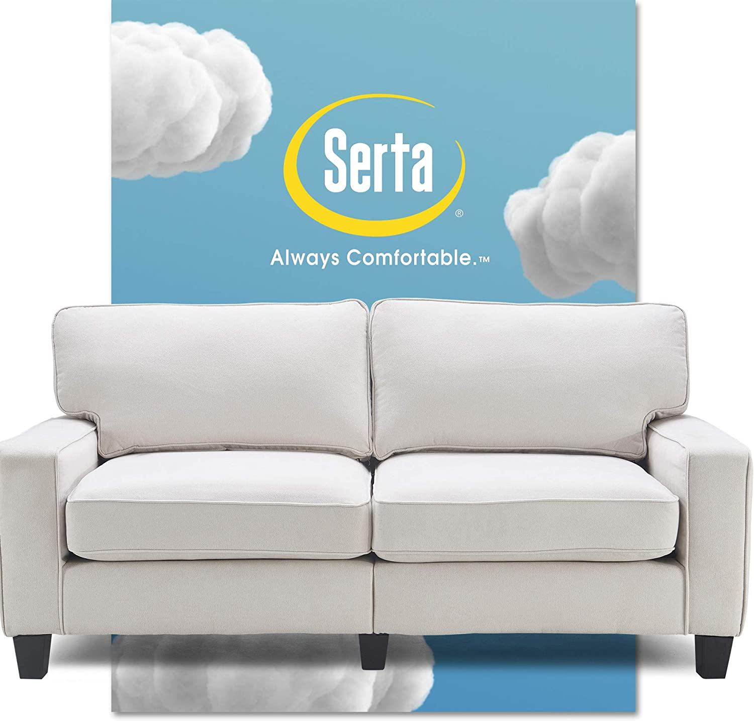 Serta Palisades Upholstered Sofas for Living Room Modern Design Couch, Straight Arms, Soft Fabric Upholstery, Tool-Free Assembly, 73