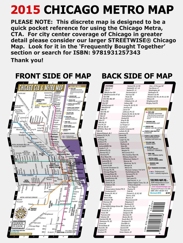 Streetwise Chicago CTA Metra Map Laminated Chicago Metro Map