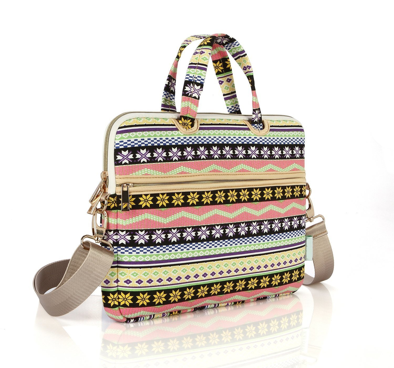 Mingbow® Bohemian Style Laptop Shoulder Bag Canvas Fabric Handbag Briefcase Sleeve Messenger Bag for Macbook Air / Macbook Pro Notebook Computers (13 inch)