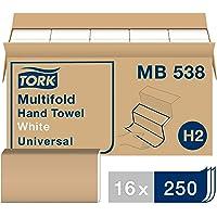 Tork MB538 - Toalla de mano multipliegue universal, 1 capa, 21 cm de ancho x 24,5 cm de largo, color blanco (caja de 16…