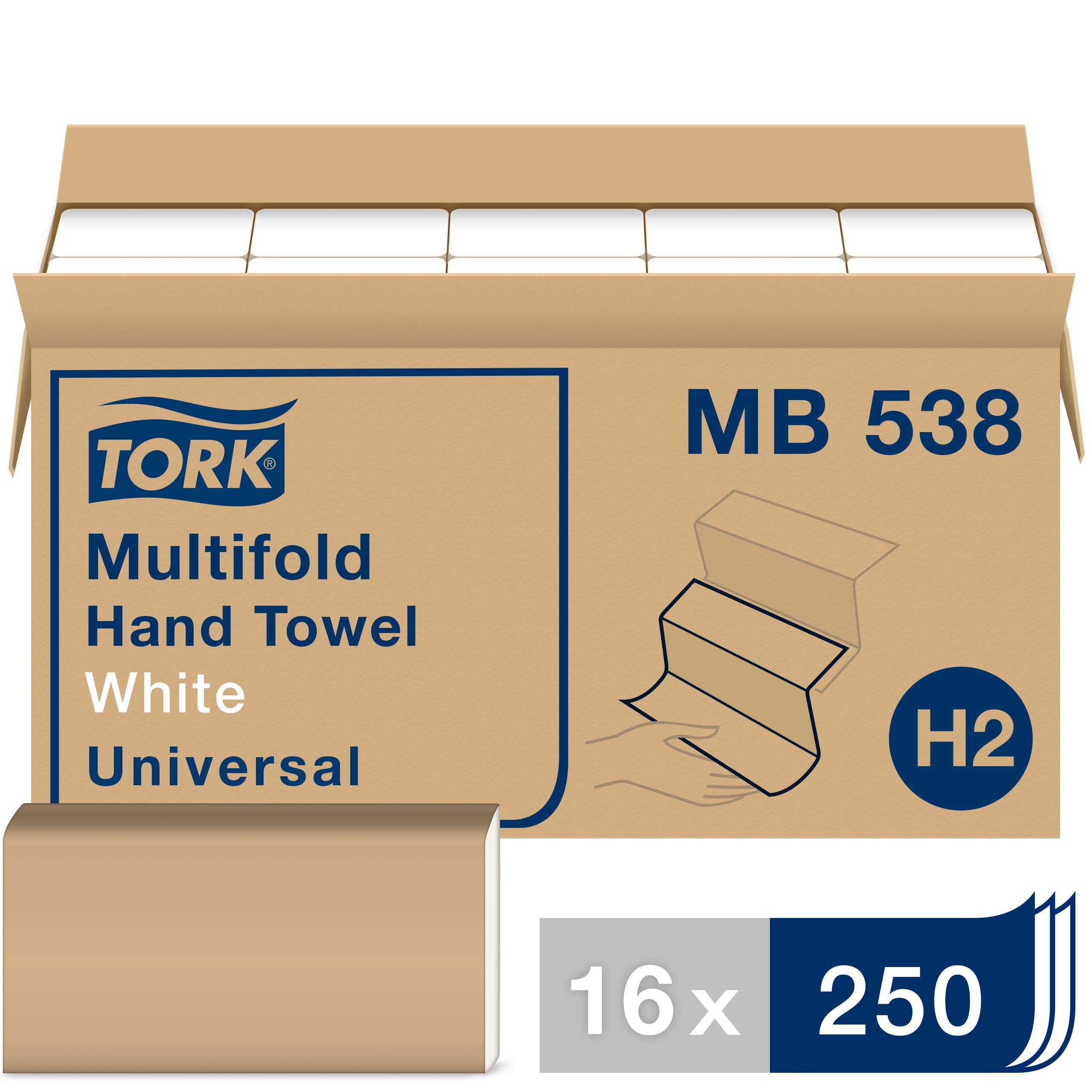 Tork MB538 Universal Multifold Hand Towel, 1-Ply, 8.1'' Width x 9.5'' Length, White (Case of 16 Packs, 250 per Pack, 4,000 Towels per Case) by Tork
