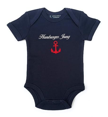 Baby-Body Hamburger Jung maritimer Babystrampler von ebbeundflut blau//wei/ß gestreift fair