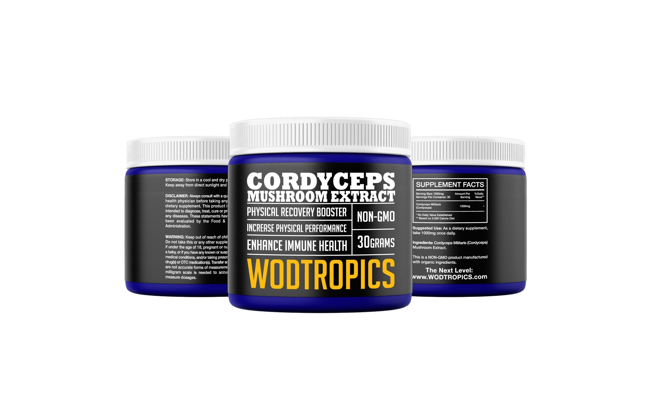 Cordyceps Powder to Increase Endurance, Enhance Recovery, and Combat Fatigue - Cordyceps Mushroom Nootropic for Mental and Physical Performance by WodTropic, 100%