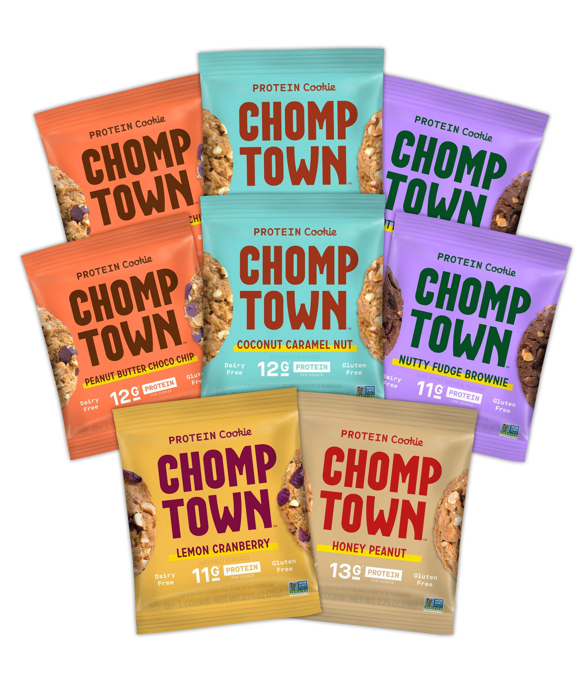 Chomptown | Variety Pack | High-Protein Cookie | Gluten-Free | Dairy-Free | Non-GMO | Fair Trade | 2.75 oz (Pack of 8) by Chomptown (Image #1)