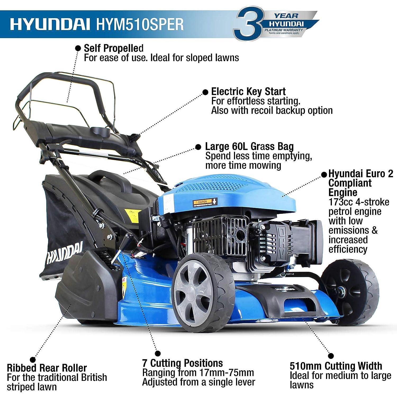 hyundai hym510sper self propelled rear key start 173cc 5hp petrol roller  lawn mower: amazon co uk: diy & tools