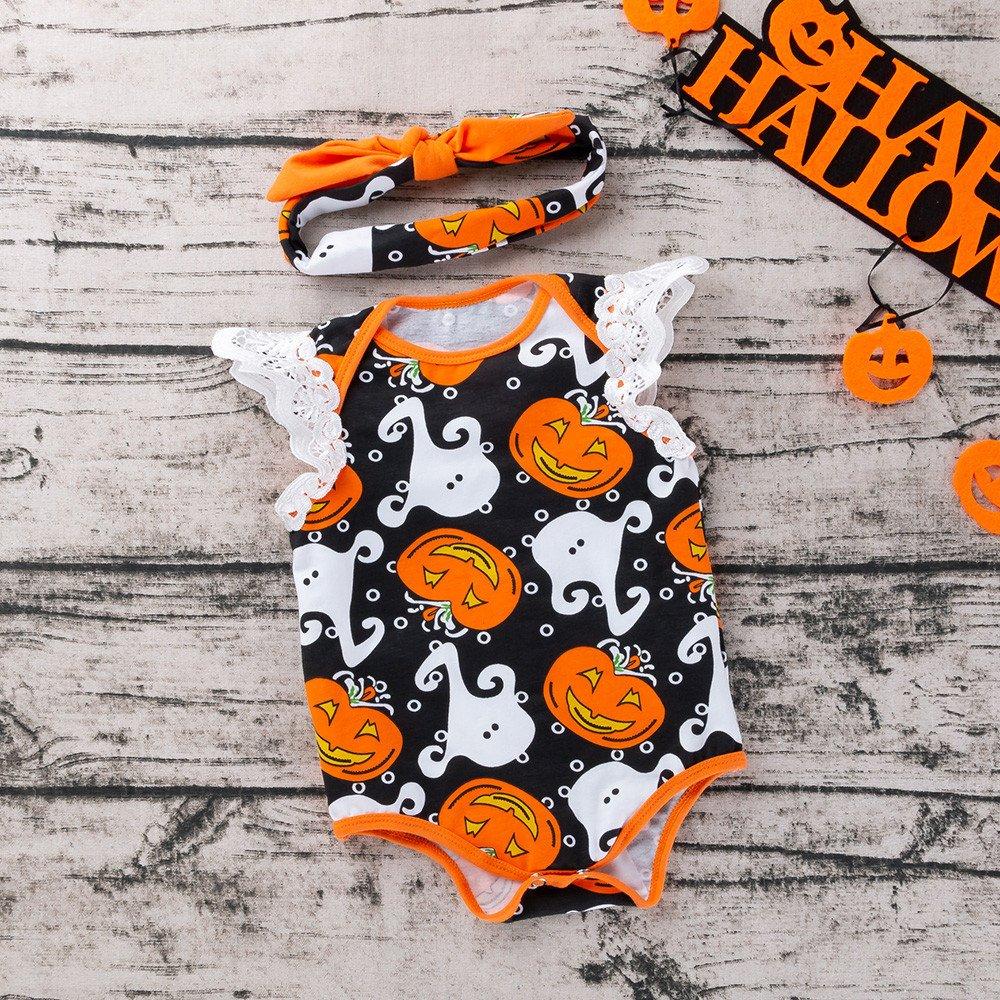 Halloween Baby Outfits,Fineser 2PCS Cute Newborn Infant Baby Boy Girls Pumpkin Print Rompers+Bowknot Headband Clothes