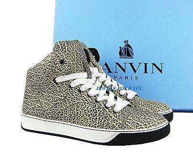 8d3837a25fc8 Amazon.com  Lanvin Black Beige Textured Leather Rubber Sole Shoes Sneakers.  We Have Size Us 9 or 10  Shoes