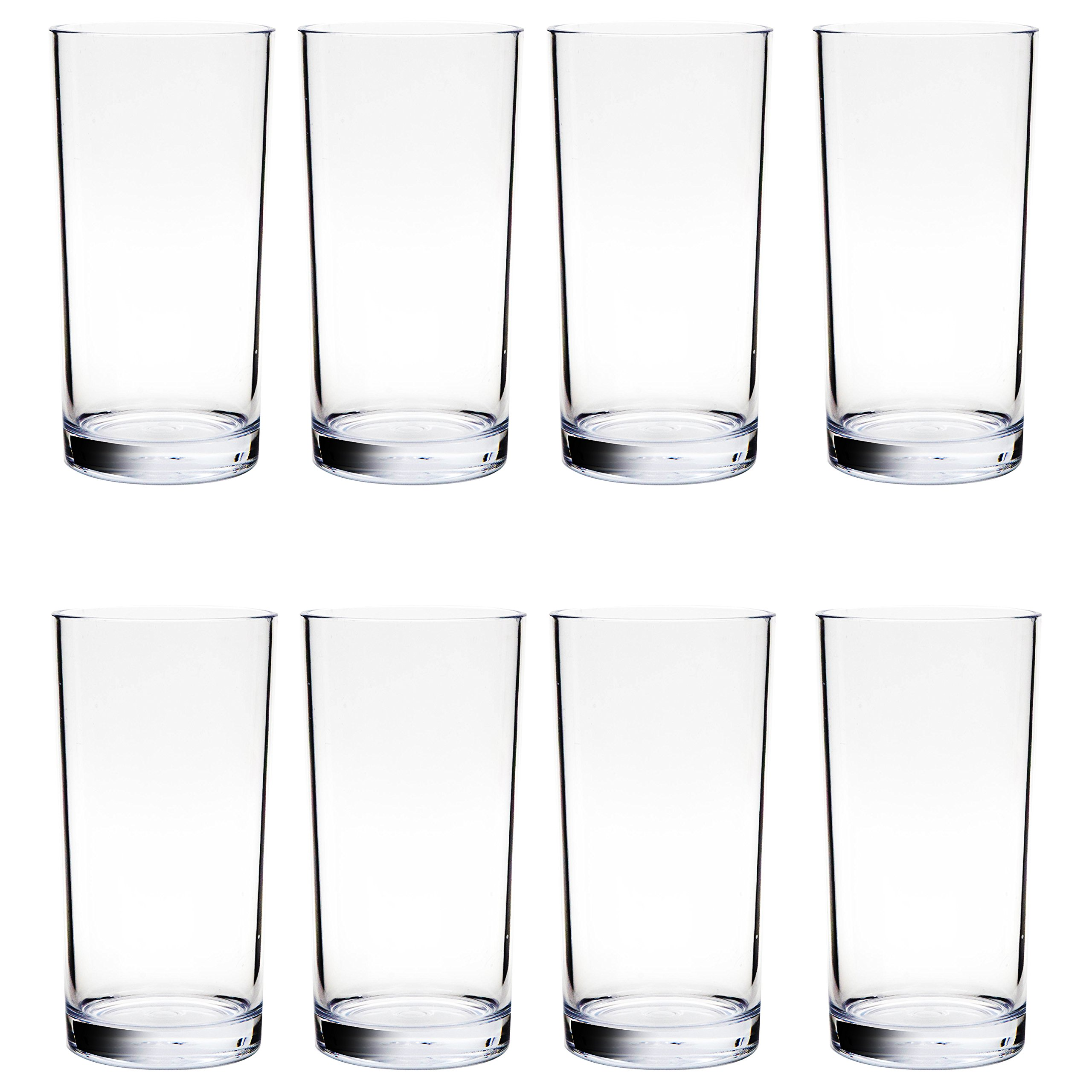 Youngever 16 ounce Shatterproof Premium Quality Plastic Water Tumbler, Plastic glasses, Reusable Plastic Cups, Unbreakable Glasses, Plastic Tumblers, Set of 8