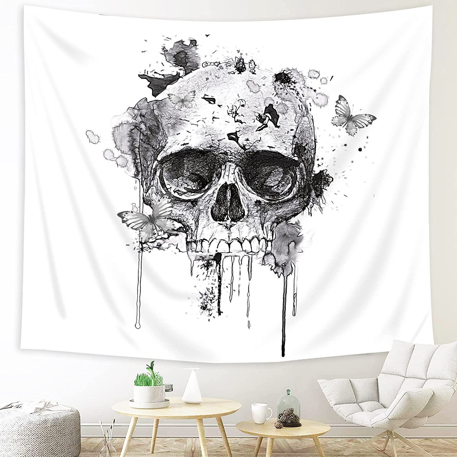 Imirell Black White Skull Tapestry 51H x 59W Inches Watercolor Grey Butterfly Human Abstract Indie Skeleton Wall Hanging Bedroom Living Room Dorm Wall Blankets Home Decor Fabric