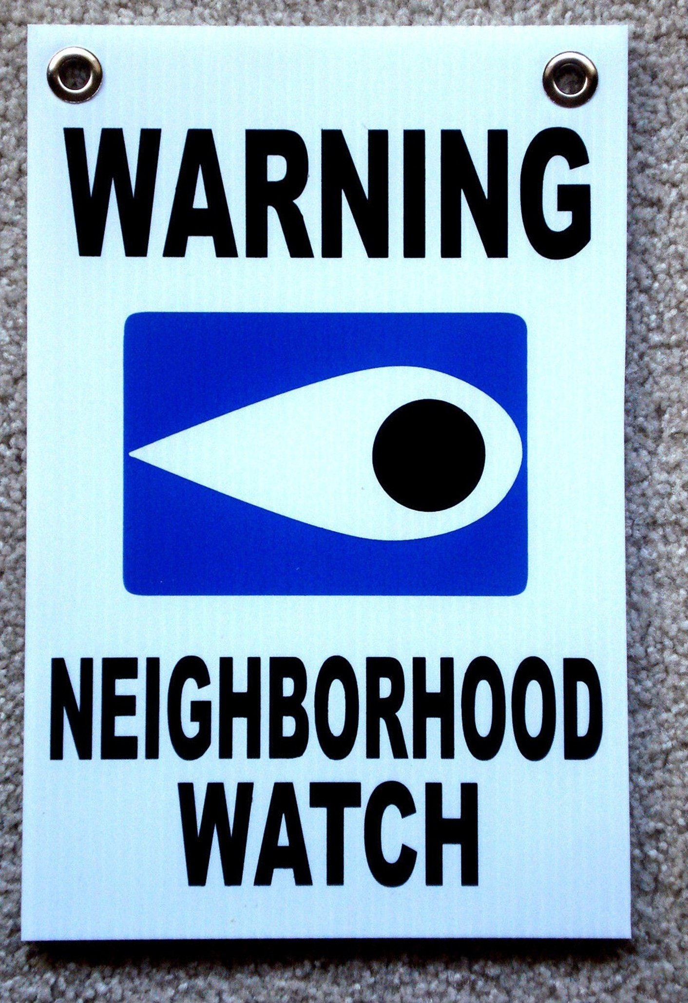 1 Pcs Inspiring Unique Warning Neighborhood Watch Sign Protection Holder Door Hanger Business Window Post Tools Home Premises Hour Yard Signs Security Under Cameras Protected Size 8''x12'' w/ Grommets