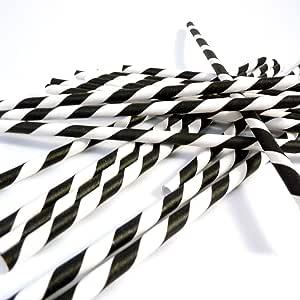 Bella Cupcake Couture Paper Party Striped Straws, Black/White