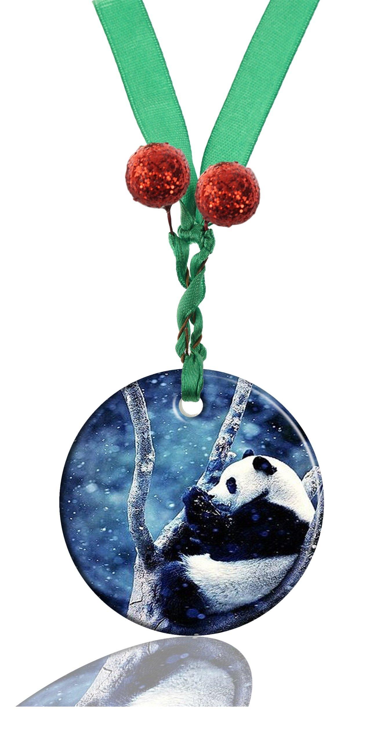 RUNDO Animal Panda Custom Personalized New Ceramic Porcelain Hanging Round Christmas Ornaments