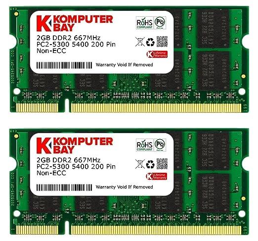 1032 opinioni per Komputerbay 4GB 2X 2GB DDR2 667MHz PC2-5300 PC2-5400 DDR2 667 (200 PIN) SODIMM