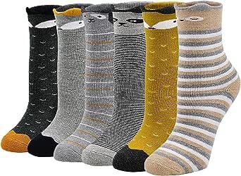 LOFIR Calcetines Térmicos de Algodón para Niñas Invierno Calcetines Gruesos y Cálidos, Calcetines Colores Casuales Novedad para Niñas/Niños de 2 a 11 años, Talla 20-34, 6 pares