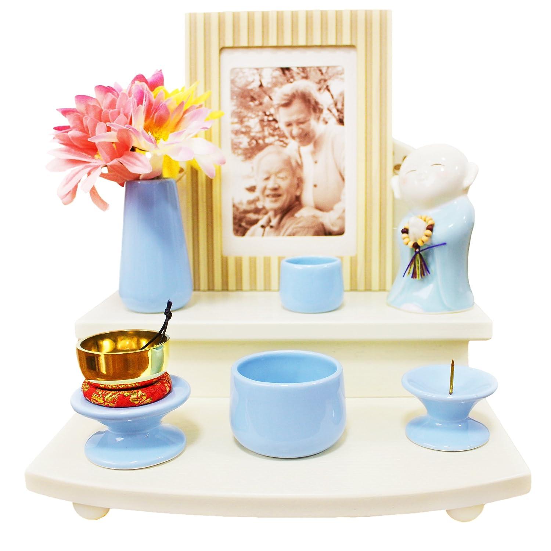 仏壇 2段ステージ ホワイト クローバー 祈り地蔵 & ミニ仏具 5点セット ブルー おりん つき B01MQFL6PQ