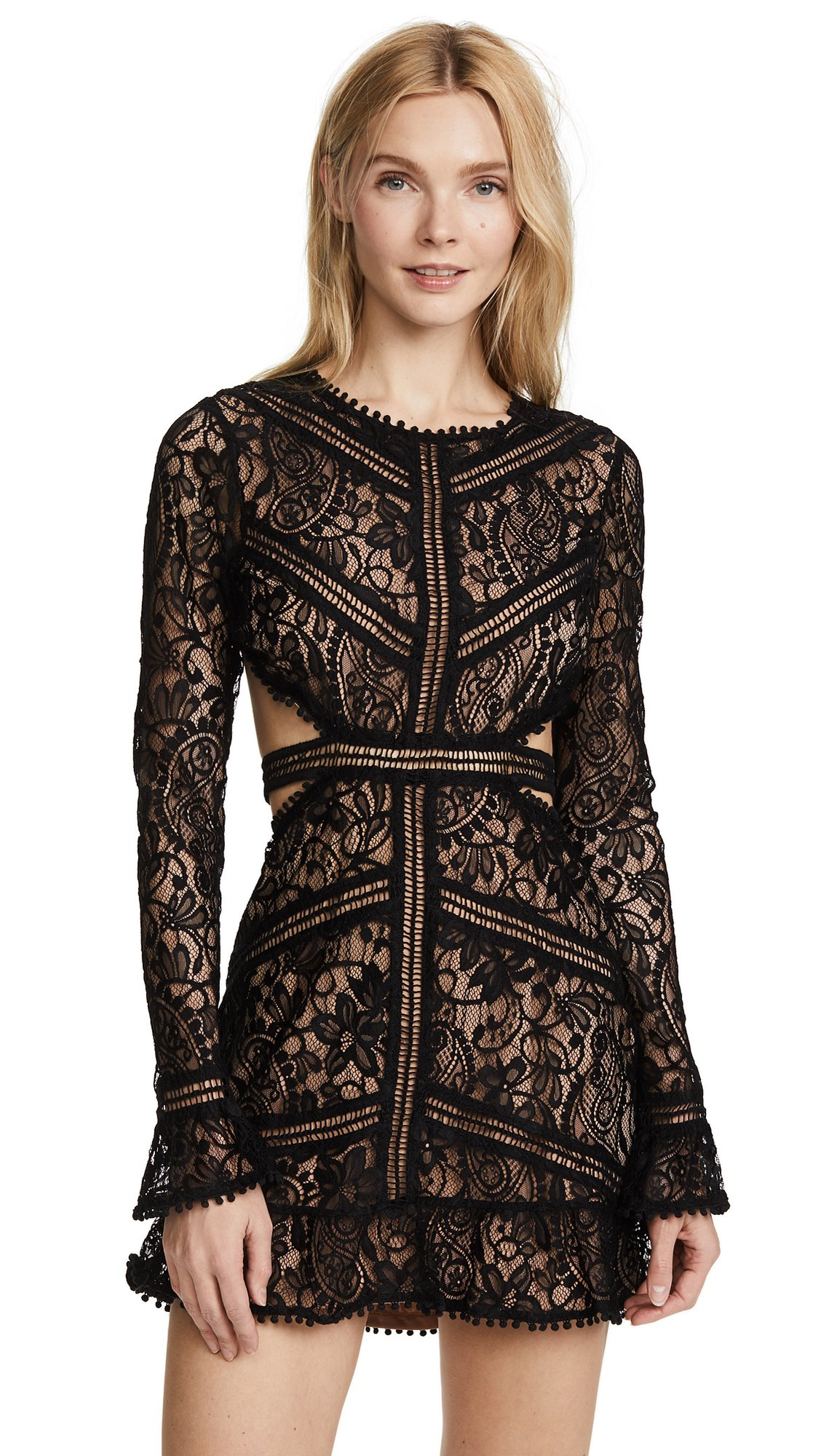 For Love & Lemons Women's Emerie Cut Out Dress, Black, L