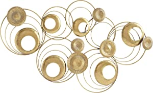 Modernist Floating Rings Sculpture, Golden Gilt, Circular Rods, Crinkle and Rushed Discs, Hammered and Patina Surfaces, Hand Welded and Painted, 47.25 Inches Wide, Home Art Decor