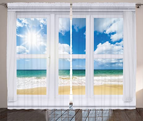 Beach Curtains By Ambesonne House Window Overlooking Ocean View Sunshine And Sandy Cloudscape