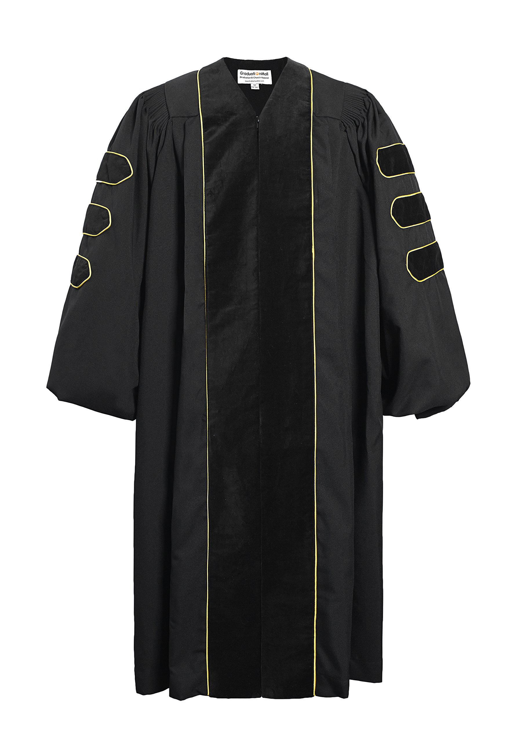 GraduationMall Deluxe Doctoral Graduation Gown Black Velvet with Gold Piping for Faculty and Professor 54(5'9''-5'11'')