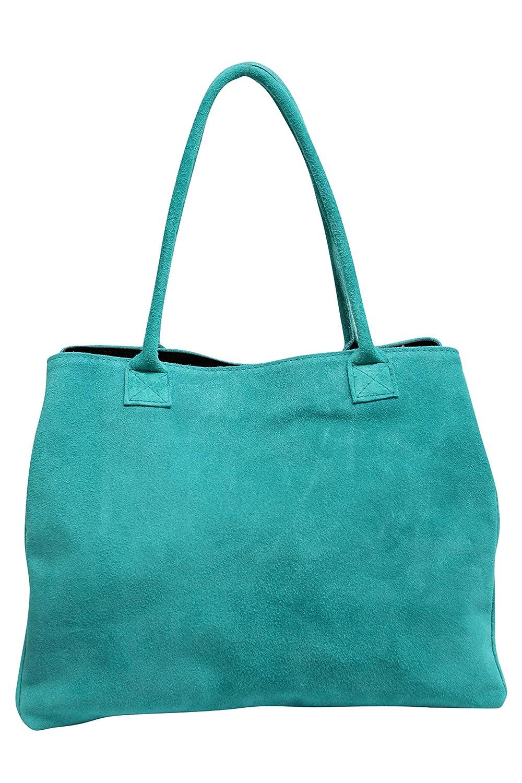 AMBRA Moda Sac à main en cuir velours pour femme Sac portés épaule en daim Shopper WL810