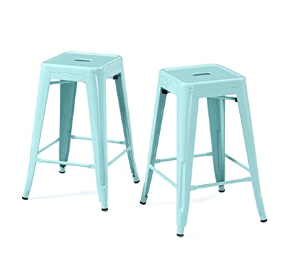 Marvelous Modhaus Living Set Of 2 Dusty Aqua Blue French Bistro Tolix Style Metal Counter Stools In Glossy Powder Coated Finish Includes Tm Pen Machost Co Dining Chair Design Ideas Machostcouk