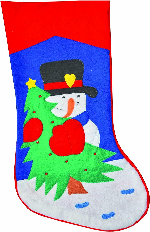Pack of 2 Komonee Christmas Tree Santa Bear and Snowman Traditional Xmas Red Felt Stocking Sack Mixed