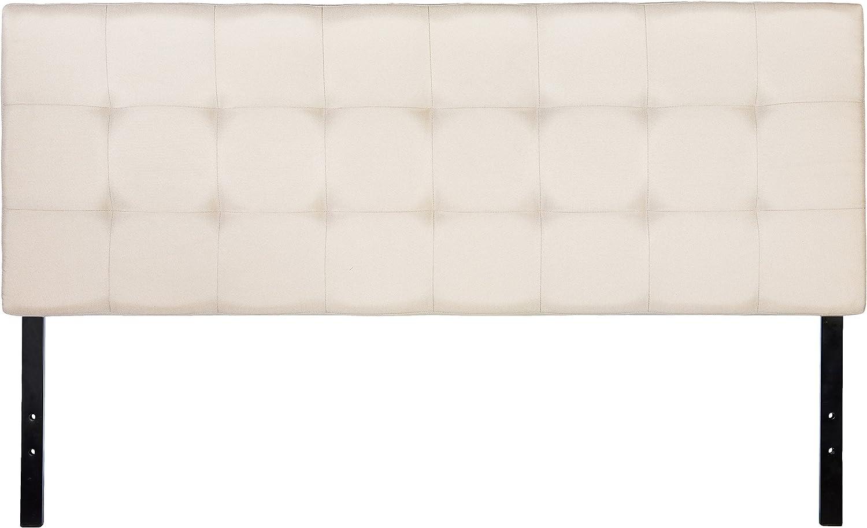 AmazonBasics Faux Linen Upholstered Tufted Headboard - Full, Beige