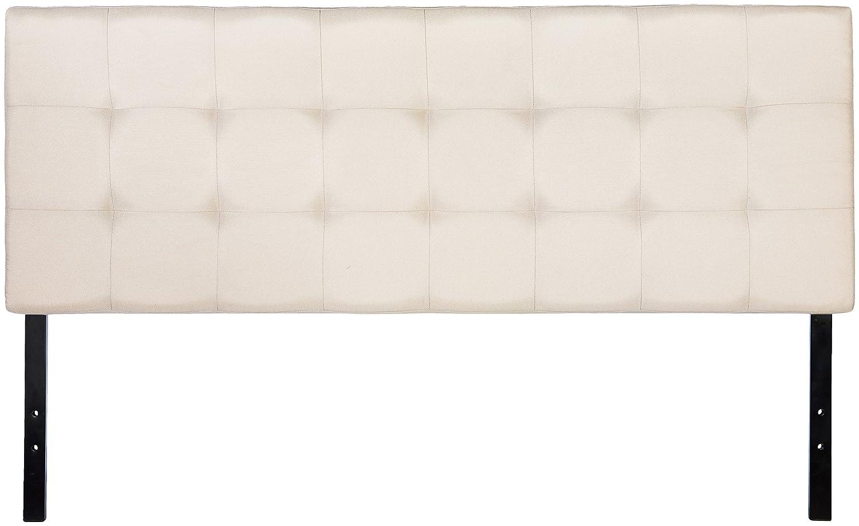 AmazonBasics Faux Linen Upholstered Headboard, Beige, Queen AMZ721Q