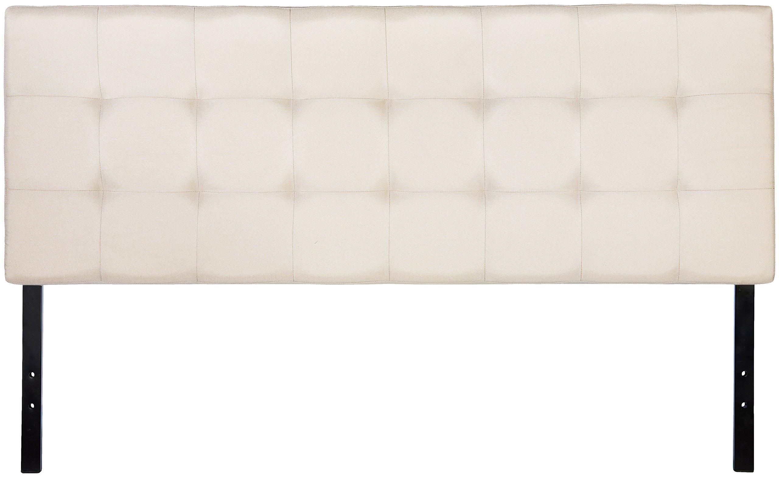 AmazonBasics Faux Linen Upholstered Headboard - Beige, Full