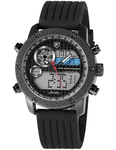 SHARK hombre deportivos Cuarzo relojes de pulseras silicona Fecha del LCD Día 24 Horas Pantalla Alarma Cronómetro Manos luminosas SH585: Amazon.es: Relojes